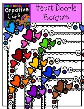 Heart Doodle Frames {Creative Clips Digital Clipart}