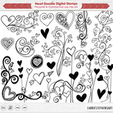 Heart Doodle Flourishes, Whimsical Valentine's Day Ornaments, Decorative Stamps