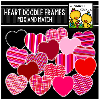 Heart Doodle Frames Mix and Match – White Outline