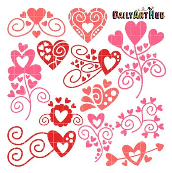 Heart Doodles Clip Art - Great for Art Class Projects!