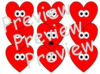 Heart Clip Art with Faces (Black Lines Included)