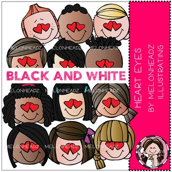 Heart Eyes clip art - BLACK AND WHITE - by Melonheadz