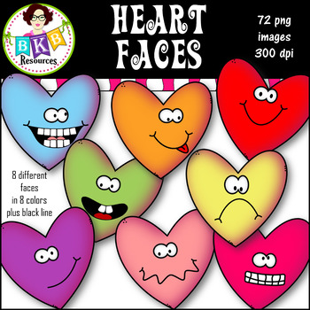 Heart Faces● Clip Art ● Graphics ● Products for TpT Sellers