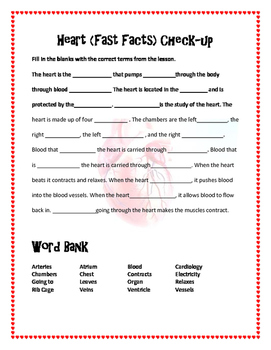 Heart Fast Facts Word Search and Comprehension Check