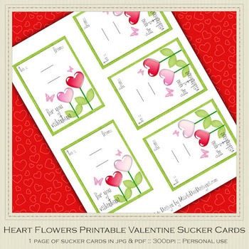 Heart Flowers 1 Printable Valentine Sucker Cards