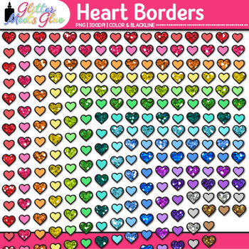 Heart Border Clip Art {Frames for Valentine's Day Activities and Worksheets}