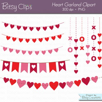Heart Garland Clipart Digital Art Set Valentine Clipart Garland Clipart