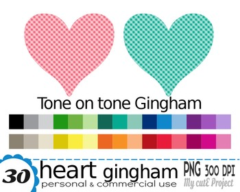 Heart Gingham | Clipart | 30 png files | Scrapbooking Clip