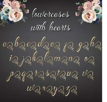 Heart Gold Letters with hearts, Gold foil alphabet, Gold letters, Gold numbers