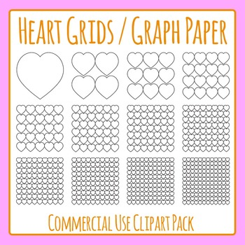 Heart Grids / Graph Paper Commercial Use Clip Art Pack
