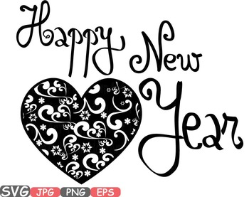 heart happy new year svg winter holiday clip art quotes word art 2017 455s