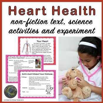 Heart Health Reading, Science Activities, Experiment, and STEAM Challenge
