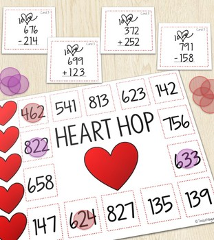 Heart Hop- 2 and 3 Digit Addition and Subtraction Game