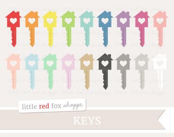 Heart House Key Clipart; Lock, Door, Moving Day
