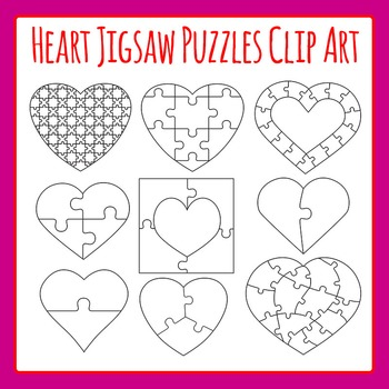 Heart Jigsaw Puzzles Commercial Use Clip Art Set