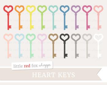 Heart Key Clipart; Valentine's Day, Skeleton Key