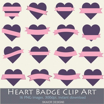 Heart Labels Clip Art Frame Hearts Clipart Valentines Purple Ribbons Pink Badges