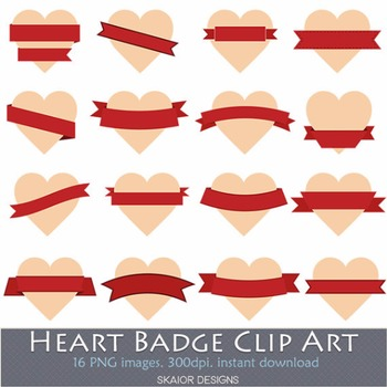 Heart Labels Clip Art Frame Hearts Clipart Valentines Red Ribbons Beige Badges