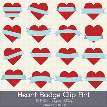 Heart Labels Clip Art Frame Hearts Clipart Valentines Red Ribbons Pink Badges