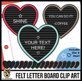 Heart Letter Boards Clip Art | Black Felt | ADD YOUR OWN TEXT