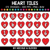 Valentine Heart Letter and Number Tiles Clipart