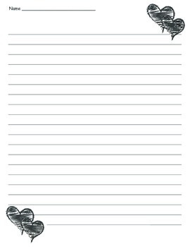 Heart Lined Paper - Valentine's Day Friendship Writing