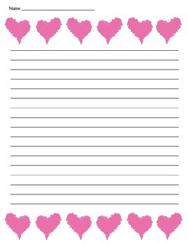 Heart Lined Paper - Valentine's Day or Friendship Writing