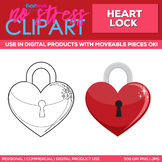 Heart Lock Clipart Single   Digital Use Ok!