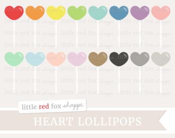 Heart Lollipop Clipart; Easter, Candy, Valentine's Day, Treat, Dessert