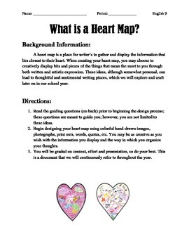 Heart Map Writing Activity