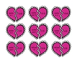 Valentine Heart Matching Times to Quarter Past, Quarter To, and Half Past
