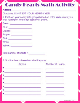 Valentine's Day Heart Math - Mean, Median, Mode, Range, Fractions & Graphing