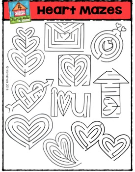Heart Mazes {P4 Clips Trioriginals Digital Clip Art}