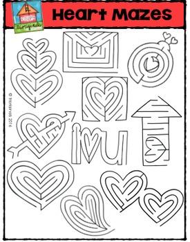 Heart Mazes {P4 Clips Trioriginals Digital Clip Art}