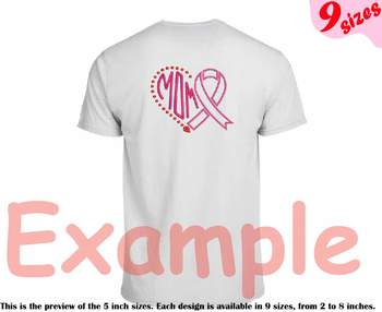 Heart Mom Breast Cancer Embroidery Design pink ribbon color hope love faith 217b