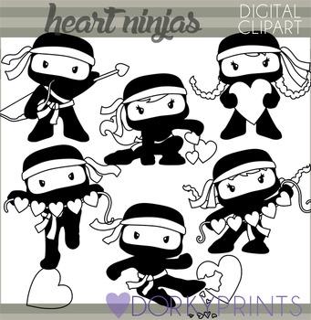 Heart Ninjas Blackline Clip Art for Valentine's Day