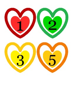 Heart Number Cards - 1-10