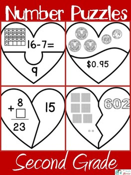 Heart Number Puzzles Second Grade