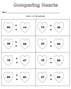 Heart Numbers - Greater Than & Less Than, Numerical Order, Even & Odds
