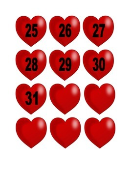 Heart Numbers for Calendar or Counting Activity