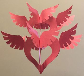 Heart Ornament - Flying Hearts, Cutting Patterns for Classroom Projects