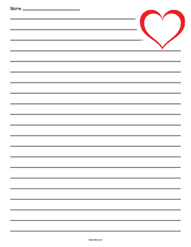 Heart Outline Lined Paper