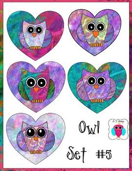 Heart Owl Clip Art Set #5