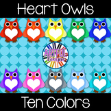 Heart Owls Clipart - In a Rainbow of Colors