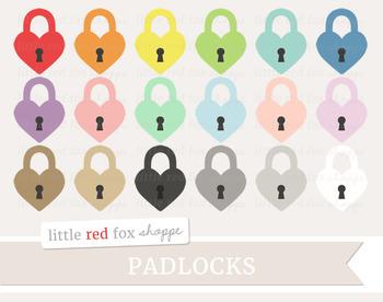 Heart Padlock Clipart; Lock, Key, Keyhole, Vintage