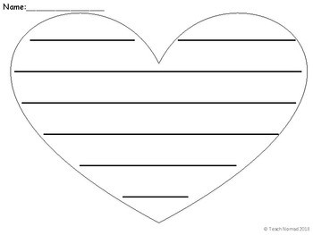 Valentines Day Heart Writing Paper Template Landscape