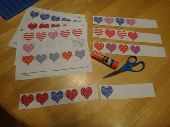 Heart Pattern Strips Valentine's Day ABAB ABB AAB