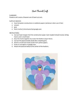 Heart Peacock Craft Template