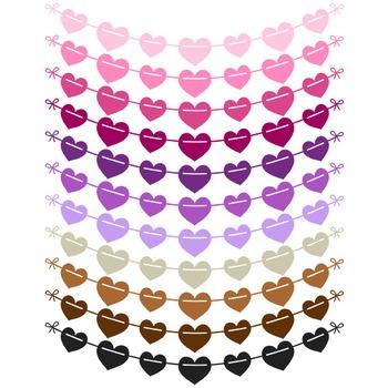Heart Pennant Banner Clipart - 22 digital garlands / 6x1 inches - A80022
