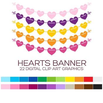 Heart Pennant Banner Clipart - 22 digital garlands / 6x1 i